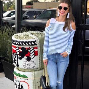 Striped Peep Shoulder Sweater